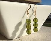 Olive Green Sparkled Gold Glass Beaded Earrings