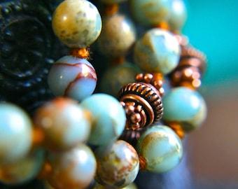 Knotted Gemstone Mala Necklace Prayer Beads Aqua Terra Jasper Mantra Meditation 108 Japa Mala Yoga Jewelry Crystal Healing Bhakti Beads