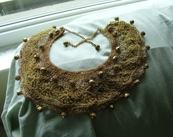 gold thread crocheted collar