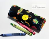 Crayon Roll to go, Lots of Bugs, Holds 12 crayons. Crayon holder, crayon case, crayon roll, crayon tote, crayon storage