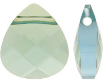 Set of 6 Swarovski 6012 11x10mm Aquamarine Champagne Flat Briolette Pendants (SKU 1880 - 6012-11-AQ-CH)
