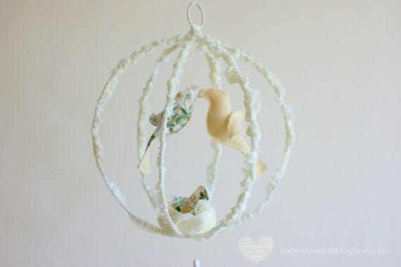 Bird mobile - handmade fabric and wool mobile in white and green, baby room decoration, wedding decoration