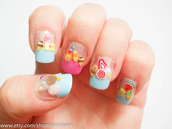 CLEARANCE Ice Cream Treats Fake Nails 3D French Tips