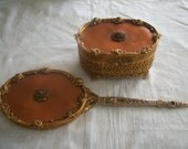 Victorian Jewlery Box with Hand Mirror - Gold Metal Mesh -  Celluloid Top - Stunning