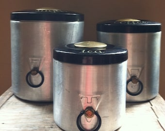 Vintage Heller Hostess Ware 3 Piece Canister Set - Aluminum Made In Italy