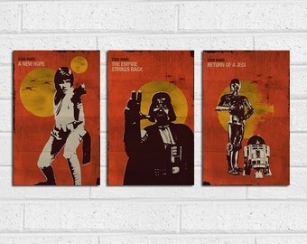 Star Wars Vintage Trilogy Posters - Set of 3 Posters
