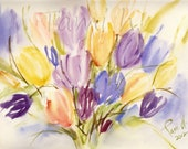 "Original Watercolor (Aquarelle) Flower Painting- Tulips 12.2""x9.0"""