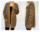 Vintage womens leopard print slouchy cardigan sweater