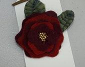 Red rose felt flower brooch pin accessory