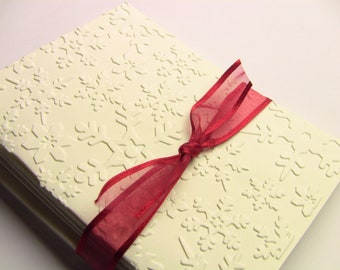 6 Hand Embossed Christmas Cards, New Year, Christmas Thank You Cards, Snowflake Cards, Winter Wedding Thank You Cards,  Blank, Elegant