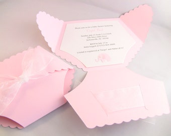 Customize Any Color, 10 Elephant Diaper Baby Shower Invitation, Thank You, Or New Baby Announcement Cards, Baby Girl Pink