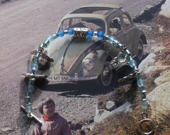 Blue/Light Blue/Flat VW Beetle Bracelet