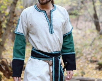 DISCOUNTED PRICE! Medieval Long Mens Tunic with Overcoat