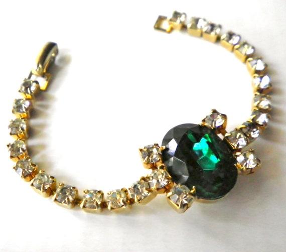 Vintage Rhinestone Bracelet  Emerald Green and Clear