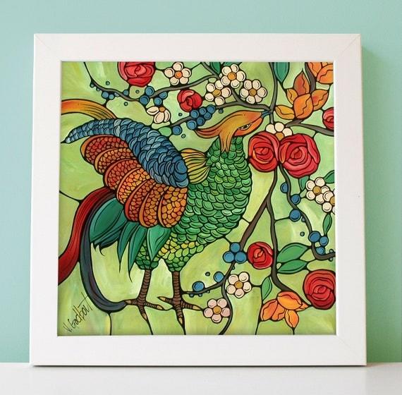 "Bird Art Print. Colorful Bird Illustration - Green Kitchen Decor - 5x7"" Print - Original Bird Artwork - Colorful Bird with Pretty Flowers"