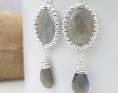 Labradorite And Silver Dangle Earrings, Statement Earrings, Wire Wrapped Earrings, Gemstone Earrings