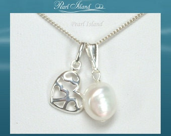 Sterling Silver Heart Freshwater Pearl Pendant Necklace, Wedding Jewellery or Jewelry, Bridal, Bridesmaid