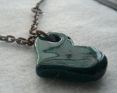 Teal Heart - Copper and cotton cord necklace