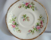 Vintage Royal Albert Moss Rose Saucers Set of 3 Pink Rose English Bone China Vintage Wedding Dessert Plates