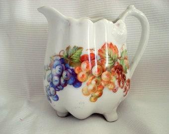 Shabby Creamer German Grape Motif Shabby Cottage Chic Vintage
