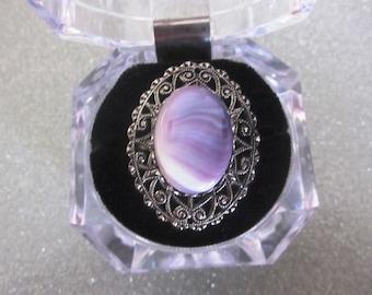 SALE Vintage Purple Stone Swirl Ring with Filagree Surround, Adjustable Band