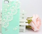 Lace Pearl iphone 5 case iphone 4 case iphone 4s case bling bling Mint green pearl lace iphone cover