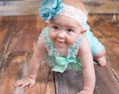 Aqua Lace Petti Romper - Newborn - Baby Girl - Toddler outfit- birthday outfit- photo prop