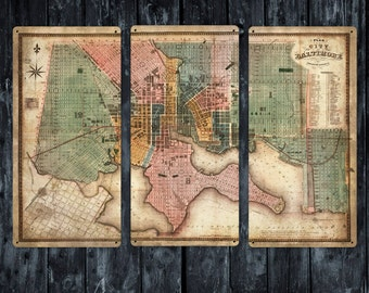 "Old Map and Plan of Baltimore METAL triptych 36x24"" FREE SHIPPING"