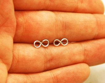 Stud earring, infinity earrings, infinity post earrings, infinity gold stud earrings, silver earrings, silver stud earrings, tiny post