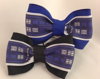Dr. Who Tardis Hair Bow - 2 inches