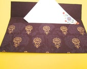 Listing reserved for Karen, 5 purple envelopes with gold motifs / decorative paper / wedding / birthday / purple theme