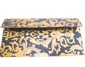 5 blue and gold decorative envelopes with textile print for gift cards, wedding and baby shower