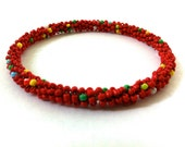Red bead bangles with a boho look, handmade red bracelet, gifts for her