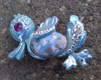 Antique Opalescent Ocean Blue Duck Brooch 1930s