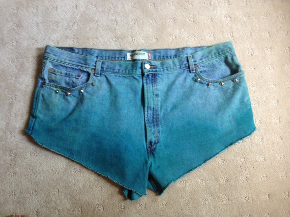 Plus Size Studded Teal Faded Denim High Waisted Shorts Size 24