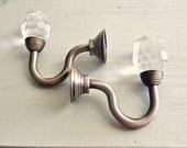 Crystal Hooks or Curtain Tiebacks Set of 2