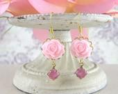 Vintage Style Flower Earrings - Dangling Light Pink Resin Rose - Victorian Vintage - Dangling Jewelry Earrings - Romantic Wedding