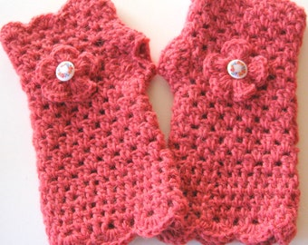 Crochet fingerless gloves  - wristers -  mittens - trendy - hand crocheted - own design - ideal for texting - cute gift OOAK. Unique.