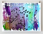 Giclee Print, Tree Art Wall Décor, Landscape Art, Wall Art Ideas, Abstract Landscape, Signed print of birds in a tree 11x14