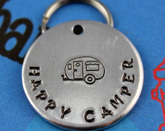 Personalized Dog Tag - Handstamped Aluminum Pet ID Tag - Pet ID Tag - Happy Camper