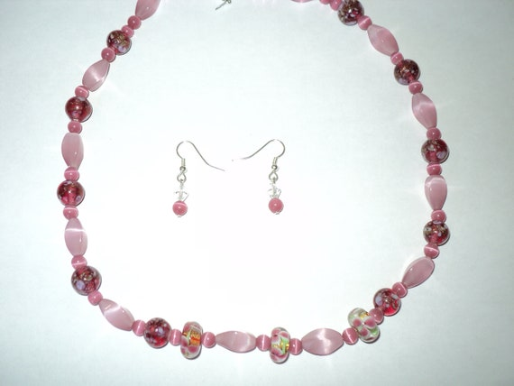 Pink Lampwork and Cat's Eye Beaded Necklace with Free matching earrings