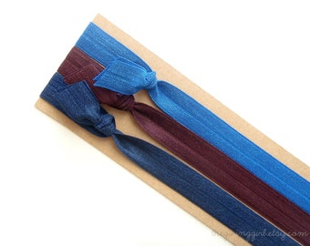 Blueberry Set: 3 Handmade Elastic Headbands, Solid Colors, Adult Sizes