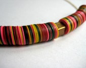 African Vulcanized Vinyl Heishi Trade Bead Necklace