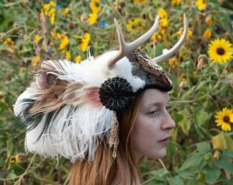 Deer Antler Feather Headdress