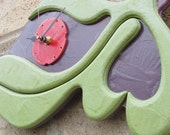 Wall Clock Hand Carved and Painted Deep Violet Matte Green Red Metallic Sheen