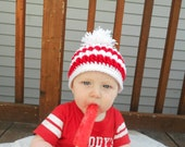 Custom made - Crochet Christmas Hat Beanie - Pom Pom Hat - Newborn - Baby - Toddler - Adult Sizes - Red and White