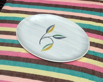 Stetson China STT25 Large Oval Platter - 1950s - Scribbled Gray Stripes Pattern