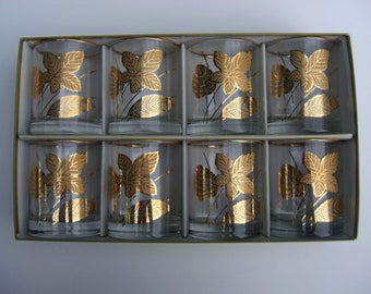 Vintage Libbey Glass - Gold Leaves Glasses - In Box - 8 Old Fashioned Lowball 22kt gold