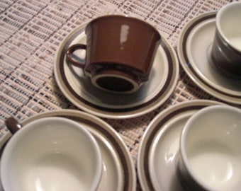 Royal China USA Aztec Pattern - Omegastone Cups and Saucers - Set of 4