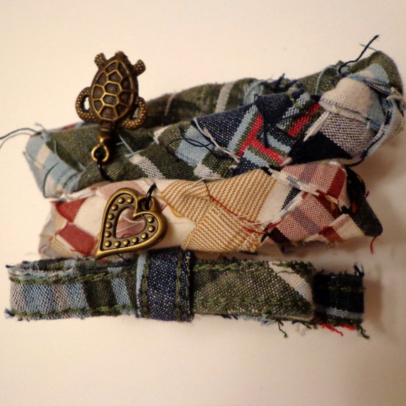 Upcycled Plaid Braided Fabric Bracelets with Bow and Charms